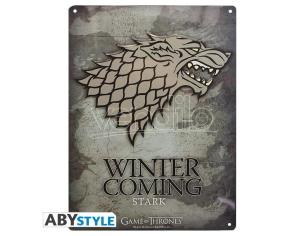"""Game Of Thrones - Metal Plate """"stark"""" (28x38) With Hook"""