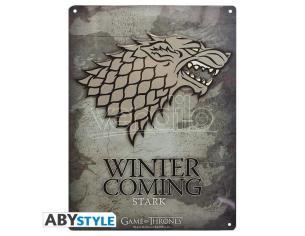 "Game Of Thrones - Metallo Plate ""stark"" (28x38) Con Hook"