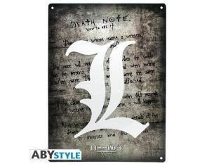 """Death Note - Metallo Plate """"l Symbol"""" (28x38) Con Hook"""