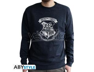 "Harry Potter - Felpa Vintage - ""Hogwarts"" Uomo Nera Sbiadita Taglia XL"