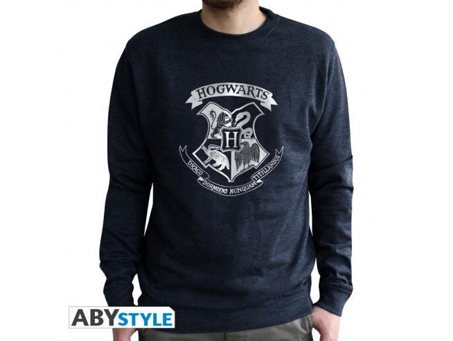 "Harry Potter - Felpa Vintage - ""Hogwarts"" Uomo Nera Sbiadita Taglia S"