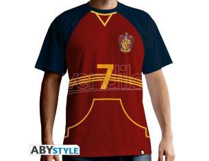 "Harry Potter T-shirt ""Maglietta Quidditch"" Uomo Ss Rossa Premium Taglia XS"
