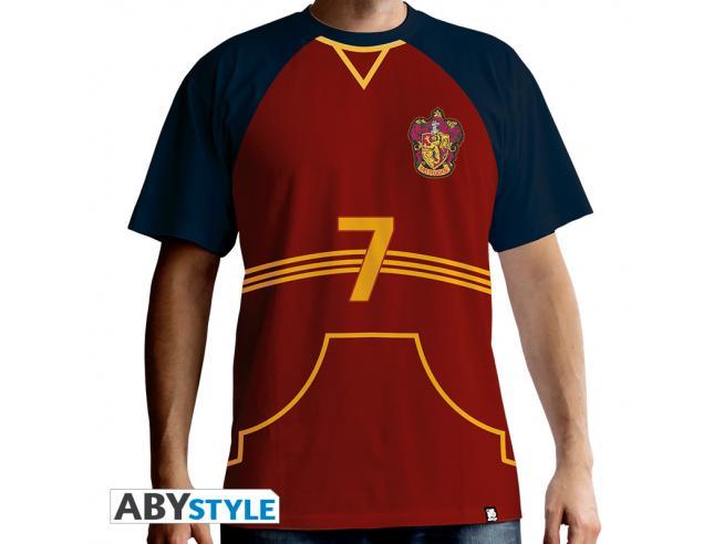 "Harry Potter T-shirt ""Maglietta Quidditch"" Uomo Ss Rossa Premium Taglia XL"