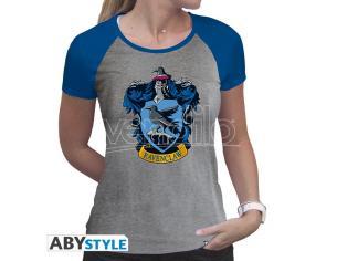 "Harry Potter - Tshirt ""Corvonero"" Donna Ss Grigio & Blu - Premium Taglia M"