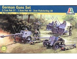 Italeri IT7026 GUNS SET PAK 35 - PAK 40 - FLACK 38 KIT 1:72 Modellino