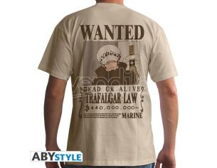 "One Piece - Tshirt ""wanted Trafalgar Law"" Man Ss Sand - Basic* Extra Large"
