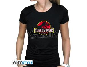 "Jurassic Park - Tshirt ""logo"" Donna Ss Nera Large"