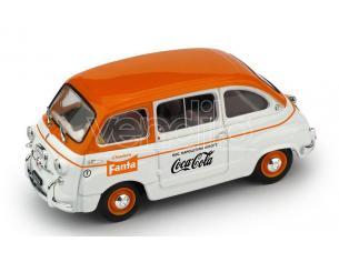 BRUMM BM0648 FIAT 600D MULTIPLA COMMERCIALE FANTA/COCA COLA 1961 1:43 Modellino