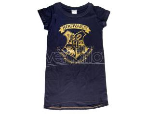 Harry Potter T-Shirt Adulto Donna Blu con Stemma Hogwarts Oro