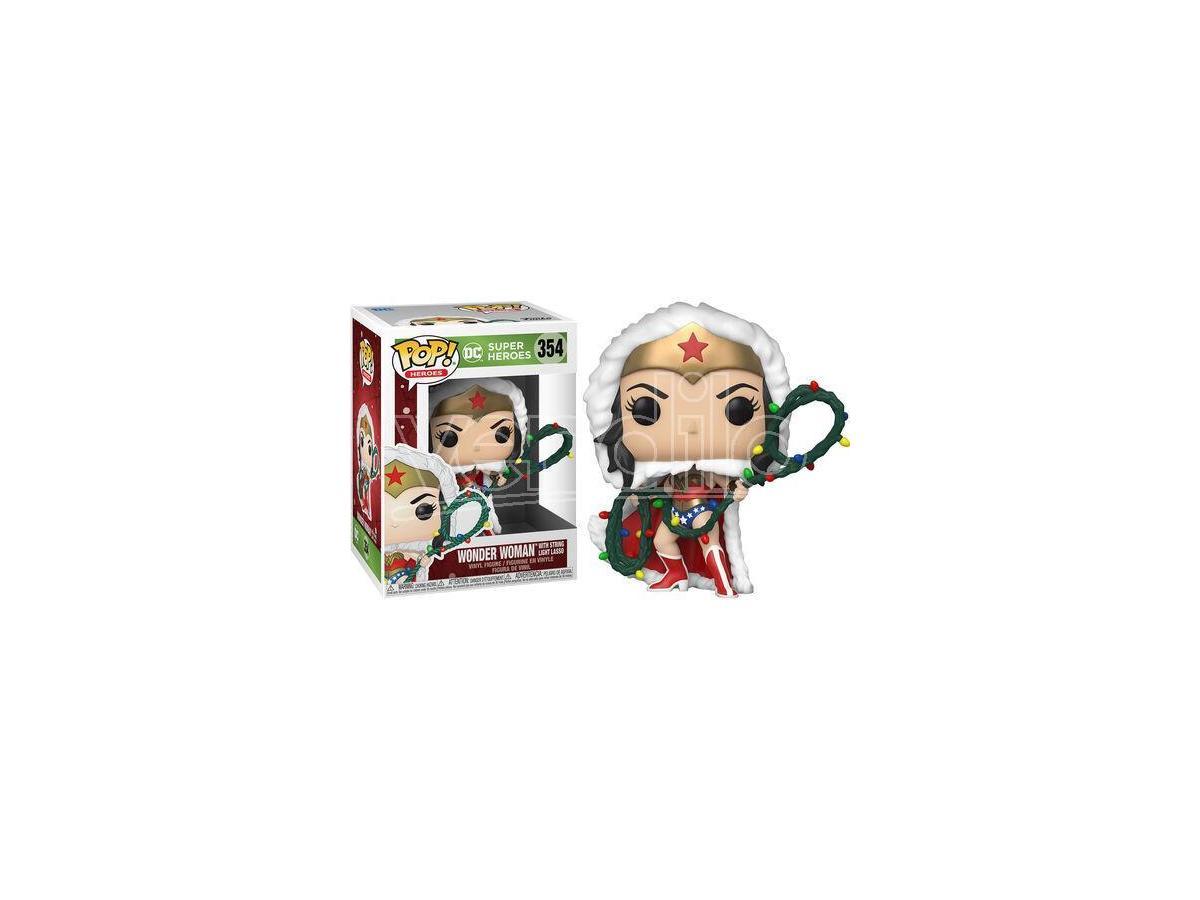 DC Comics Natale Funko POP Vinile Figura Wonder Woman Con Catena di Luci 9cm