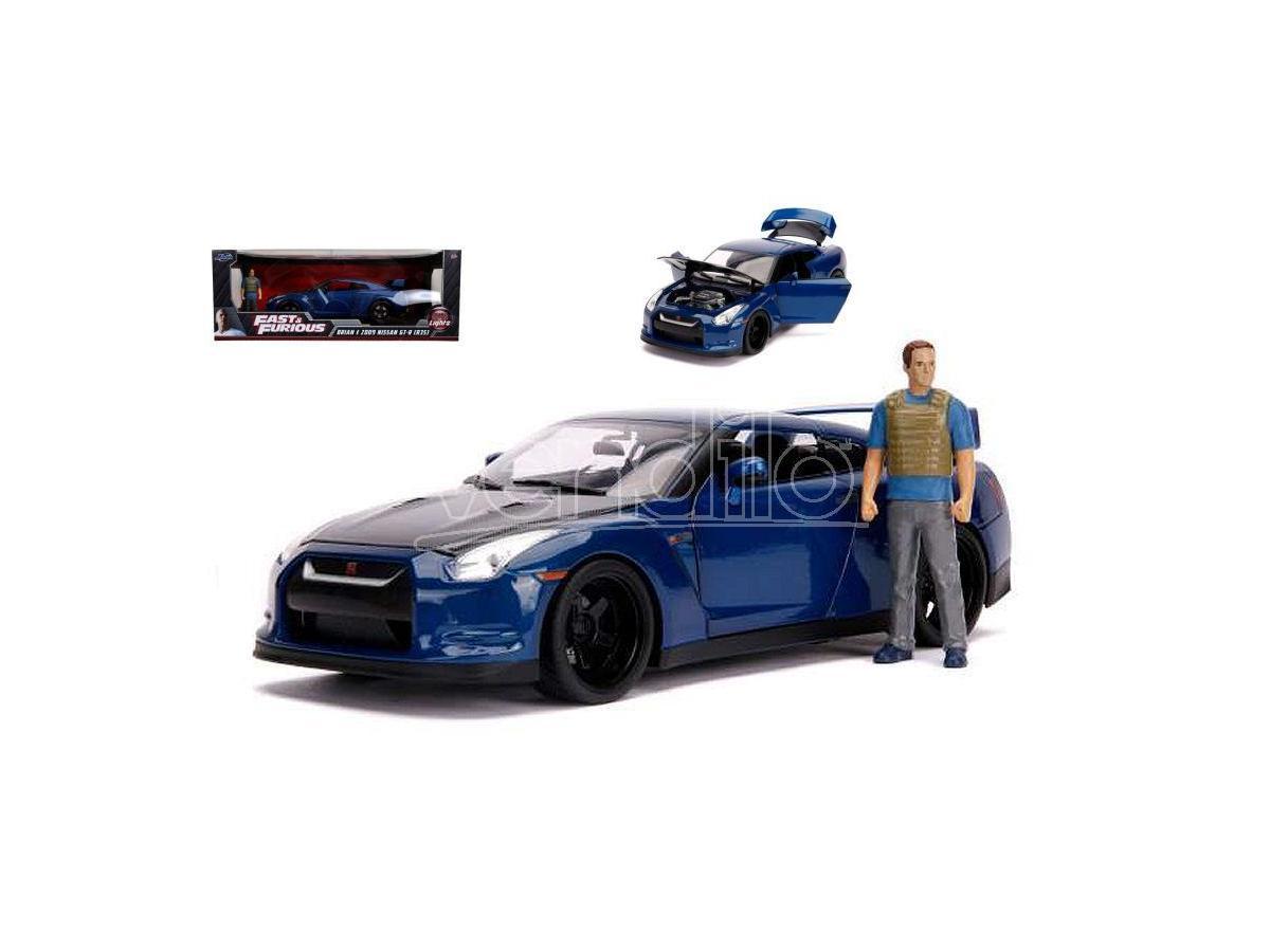 Jada Toys Jada31142 Nissan Gt-r Fast & Furious 7 W/lights & Brian Figura 1:18 Modellino