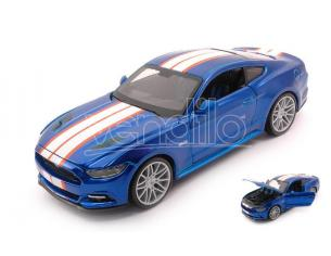 MAISTO MI31369BL FORD MUSTANG GT 2015 METALLIC BLUE W/WHITE STRIPES 1:24 Modellino