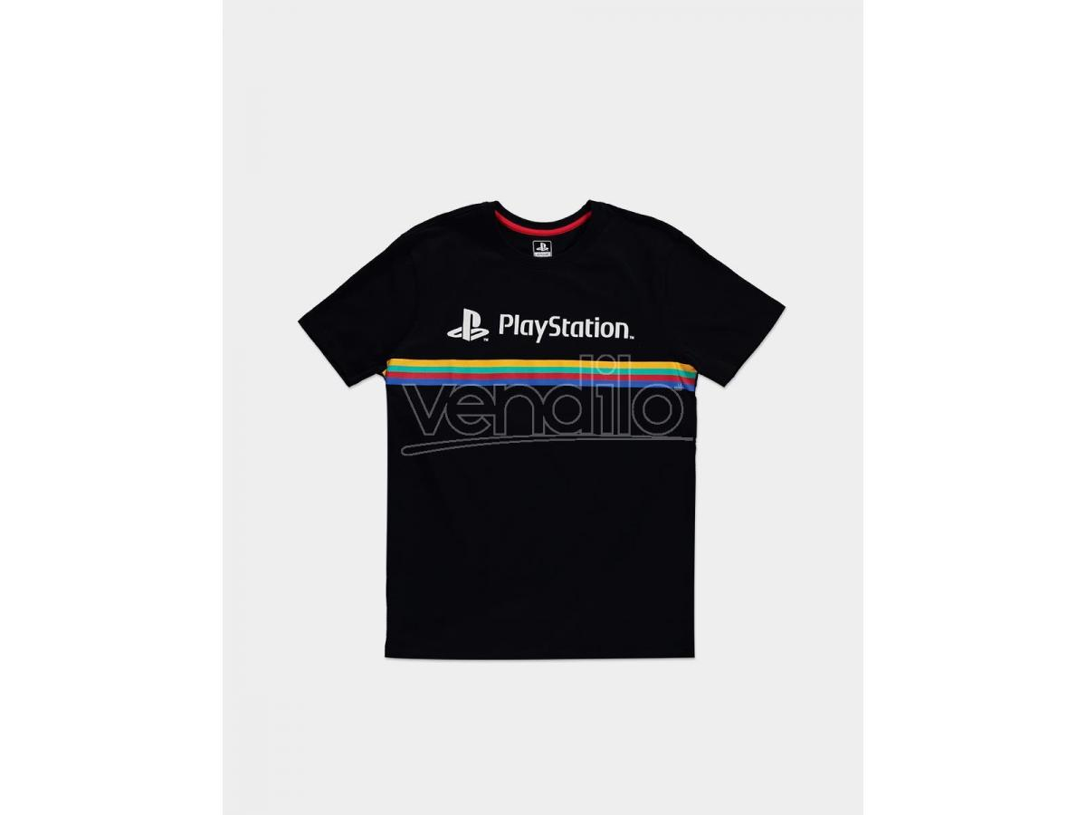T Shirt Sony PlayStation Logo Con Righe Colorate Difuzed