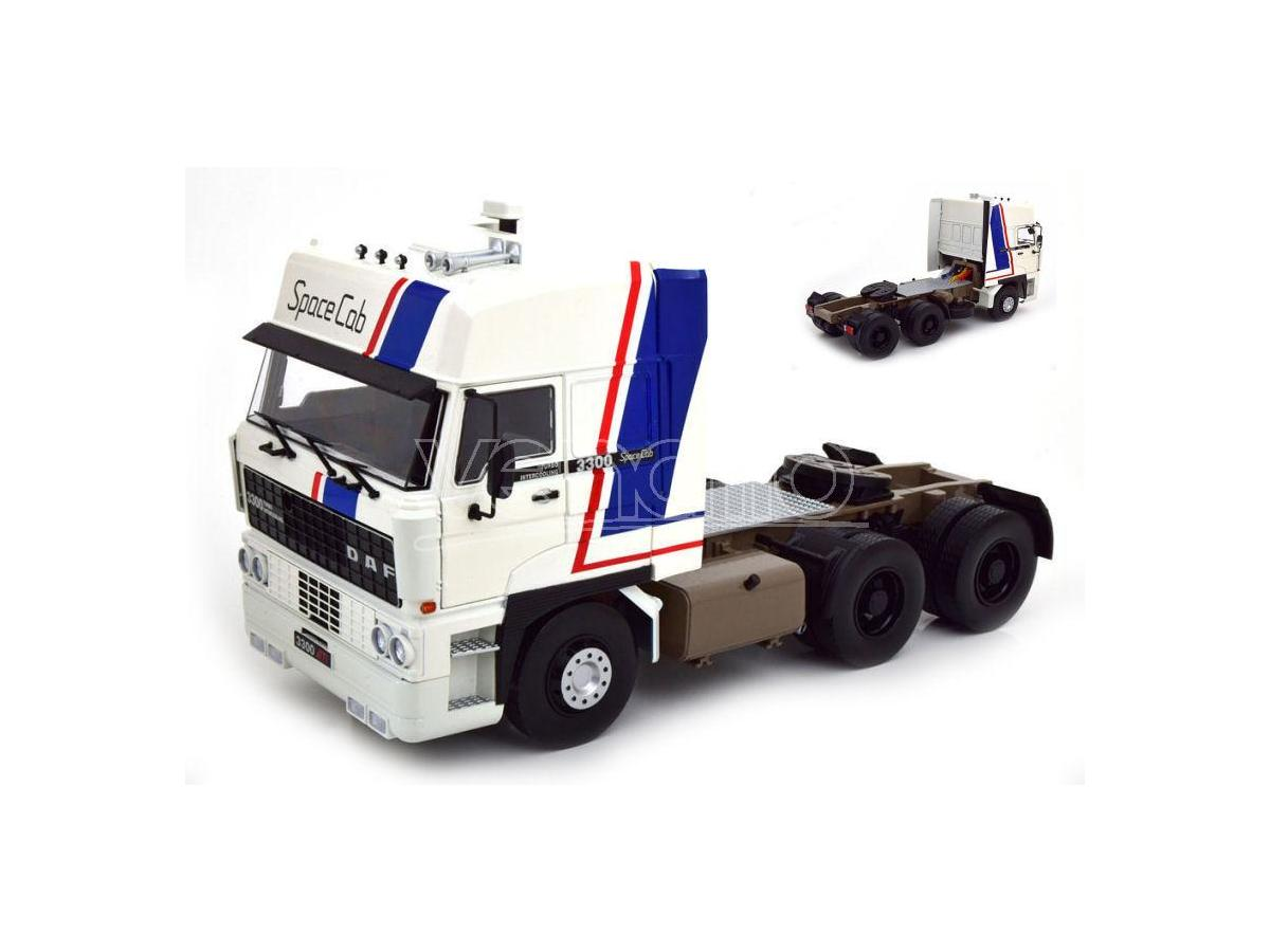 KK SCALE RK180091 ROAD KING DAF 3300 SPACECAB 1982 WHITE/BLUE 1:18 Modellino