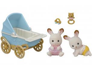 Sylvanian Family 5432 - Gemelli Coniglio Cioccolato e carrozzina
