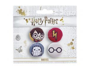 Harry Potter Set 4 Spille a Bottone Harry ed Edvige 2,5 x 2,5 cm The Carat Shop