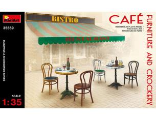 MINIART MIN35569 CAFE  FURNITURE & CROCKERY KIT 1:35 Modellino