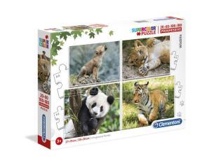 Wildlife puzzle 20+60+100+180pcs Clementoni