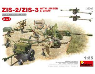 MINIART MIN35369 ZIS-2/ZIS-3WITH LIMBER & CREW 2 IN 1 KIT 1:35 Modellino