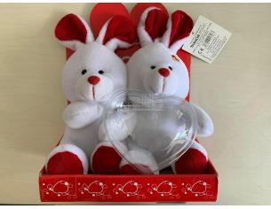 Peluche Coppiette Coniglietti con Cuore Porta Caramelle 18 cm