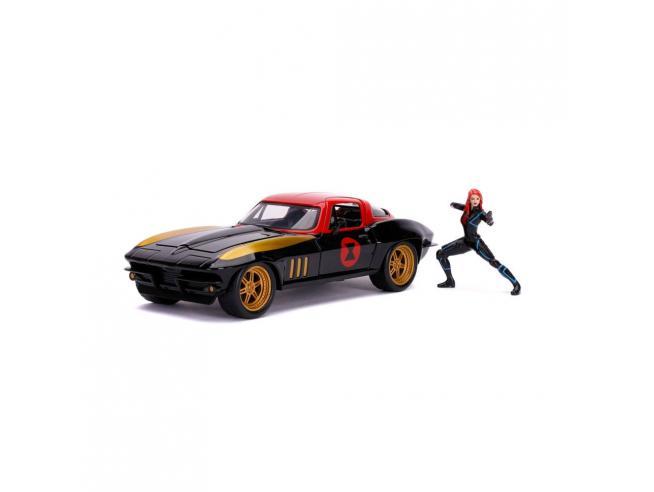 Marvel Avengers Hollywood Rides Diecast Model 1/24 1966 Chevy Corvette Con Figura Jada Toys