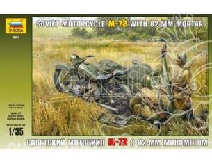 Zvezda Z3651 M-72 Motorcycle Con Mortarkit 1:35 Modellino
