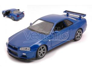 WELLY WE24108WMBL NISSAN SKYLINE GT-R (R34) BLUE 1:24 Modellino