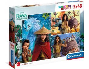 Raya e L'Ultimo Drago Disney 3 Puzzle da 48 Pezzi 32x22cm Clementoni