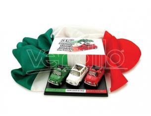 Brumm TRIO500 SET 3 PCS.FIAT 500D 1960 + FLAG 1/43 Modellino